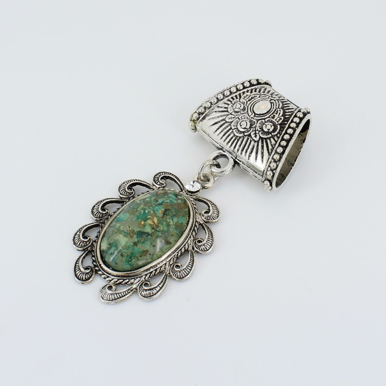 Green Scarf Pendant ~ Scarf Accessory~ Scarf Charm ~ Scarf Slide - product images  of