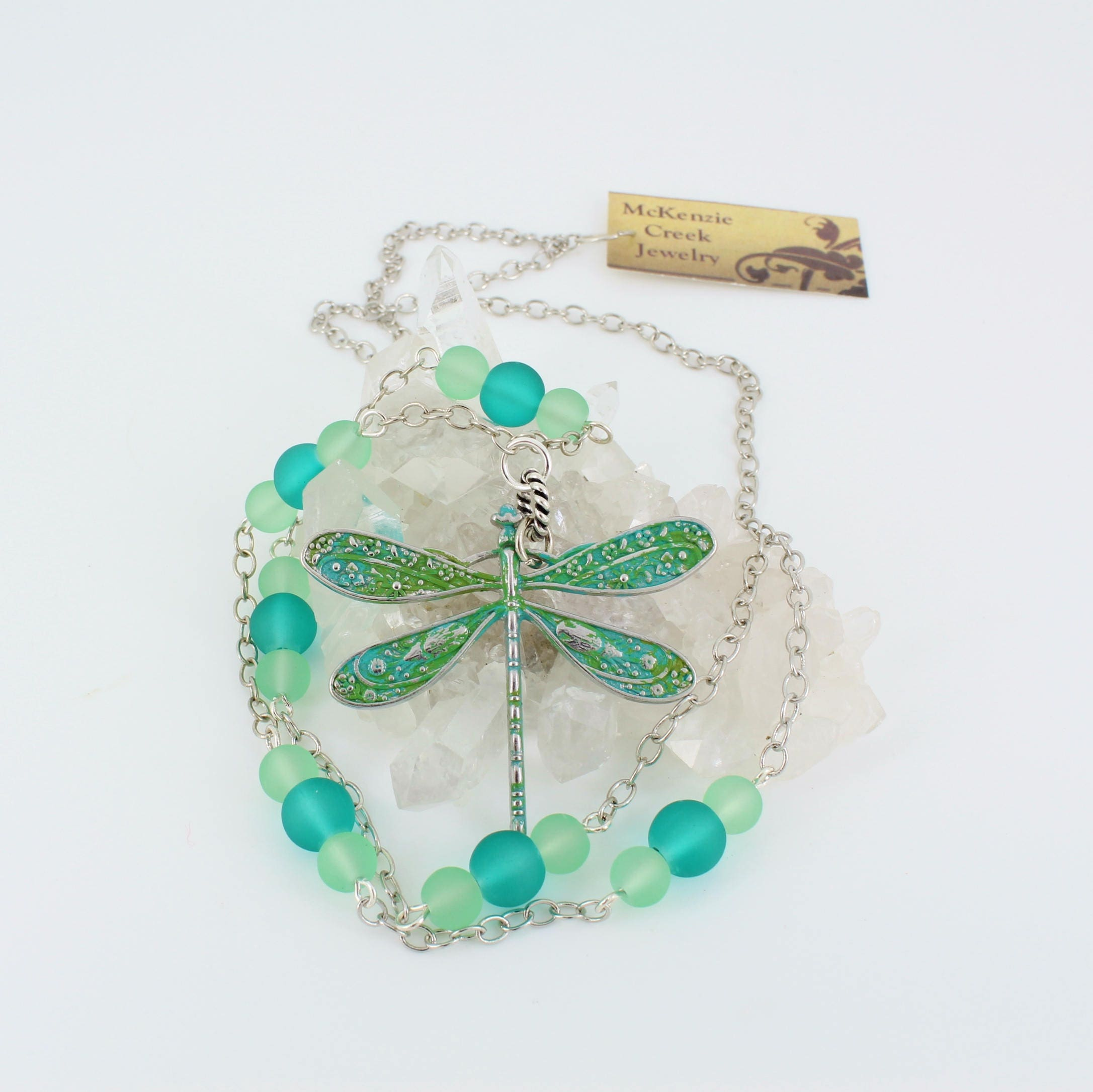Verdigris,Dragonfly,Necklace,Jewelry,beach_glass,dragonfly_necklace,aqua_jewelry,patina,long_necklace,nature_lover,beachy_look,matte_glass_beads,ocean_colors,patinated dragonfly pendant,matte glass beads,chain,findings