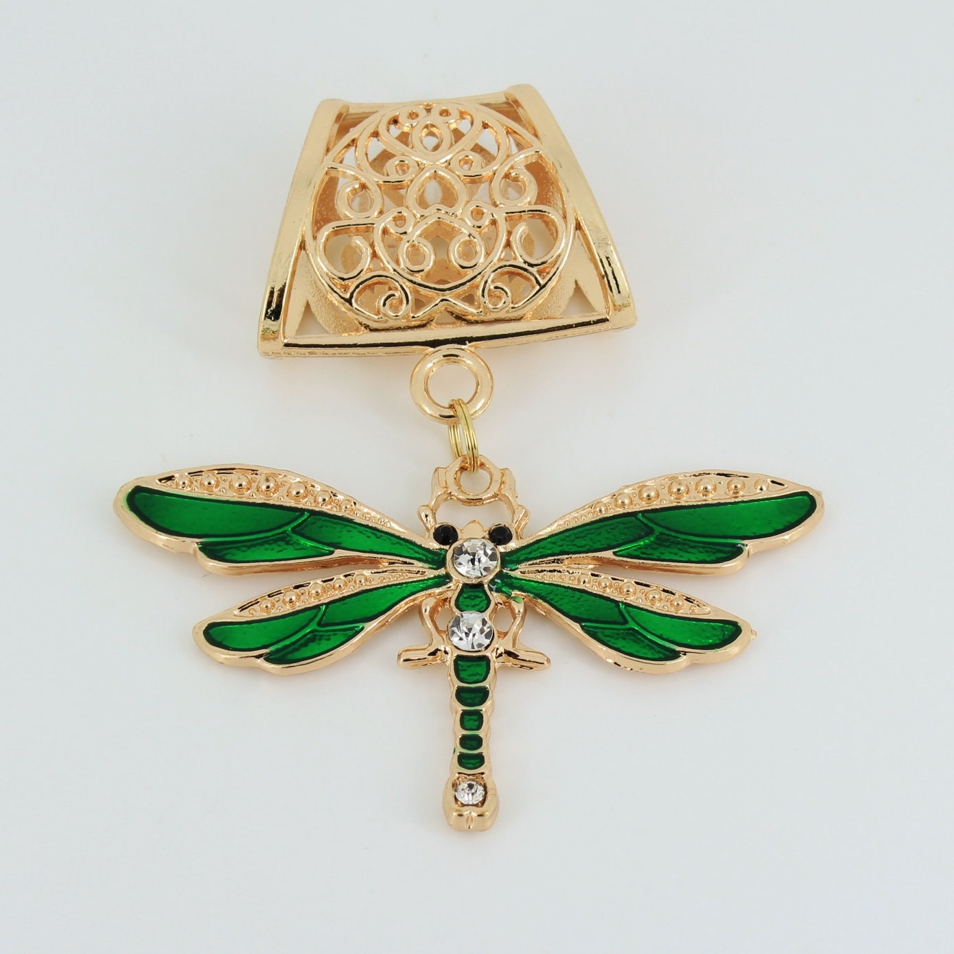 Dragonfly,Scarf,Pendant,,Gold,Slide,,Jewelry,,Charm,,Accessory,Accessories,scarf_pendant,scarf_charm,scarf_accessory,pendant_charm,fashion_accessory,heart,gold_finish,dragonfly_pendant,green_dragonfly,dragonfly_charm,Rhinestone_pendant,Green dragonfly pendant,Gold scarf slide,large jumpring