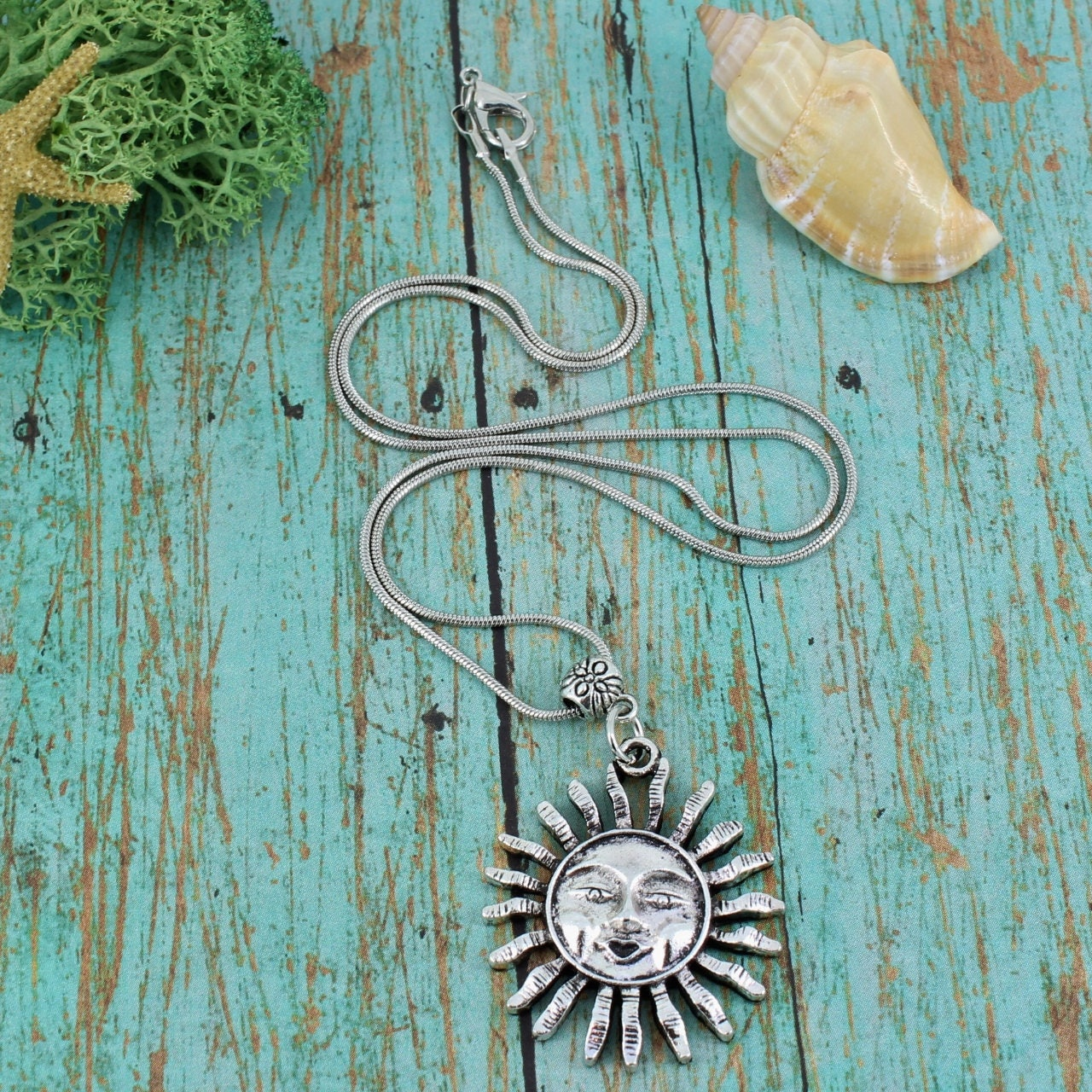 Sun,Necklace,Jewelry,silver_pendant,snake_chain,casual_necklace,unisex_necklace,kid's_necklace,Sun_Necklace,sunburst,sun_with_face,solar_jewelry,sun_and_moon,layering,stacking,chain,sunburst pendant,bail,jump ring