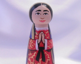 Catholic Saint Doll Wooden Peg Dolls Catholic Toy Confirmation Gift Baptism First Communion gift - Our Lady of Guadalupe - made to order