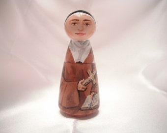 Saint Elizabeth of the Trinity - Catholic Saint Wooden Peg Doll Toy - made to order