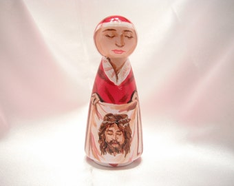 Catholic Saint Peg Dolls Catholic Toy Gift Confirmation Baptism First Communion patron  - St. Veronica of the Holy Face - made to order