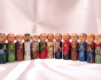 Catholic Saint Figure Peg Doll Toy Gift - The Last Supper, Catechesis of the Good Shepherd Play set - made to order