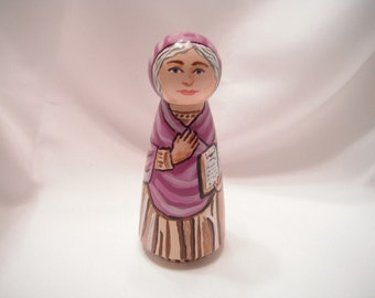 Catholic Saint Figure Peg Doll Toy Gift - Saint Sylvia -  made to order