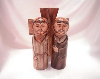 Catholic Saint Figure Peg Doll Toy Gift - Simon of Cyrene helping Jesus bear his cross set - made to order