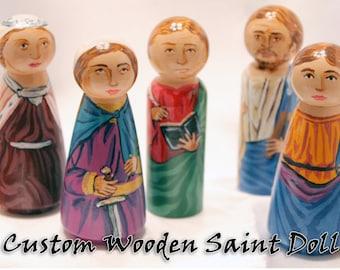 Custom Saint Peg Dolls, Toy Gift , Custom Catholic Saint Doll - made to order