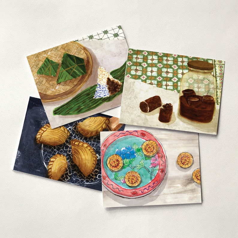 Curry Puff Gula Melaka Pineapple Tarts Nyonya Zhang Set of 4 Watercolor Cards Singapore and Malaysia Food Folded Cards Set B