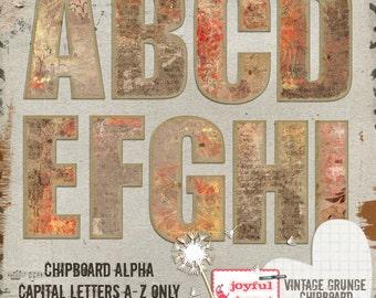 Vintage Grunge {one} Chipboard Alpha - Printable Digital Scrapbooking Supplies