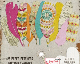 Altered Bohemian {paper feathers} - Printable Digital Scrapbooking Supplies