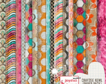 Crayzee Kewl - 12x12 inch Printable Digital Scrapbooking Paper - INSTANT DOWNLOAD