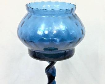 Vintage Mid Century Art Glass Sapphire Blue Candle or Votive Stemmed Holder