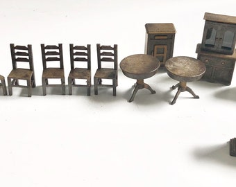 Vintage Set Miniature Dollhouse Furniture