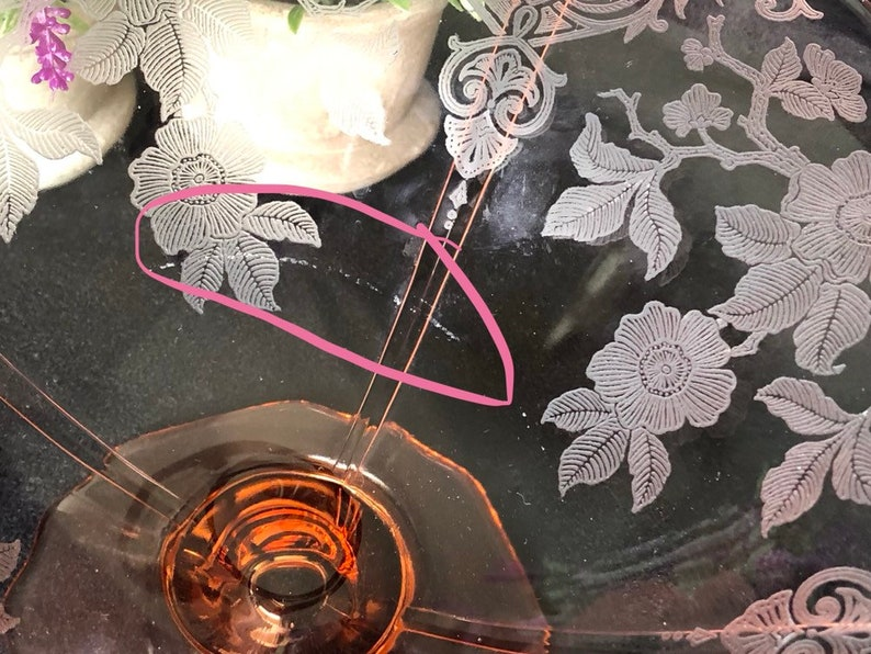 Cambridge Apple Blossom Pink Footed Etched Pink Depression Glass Bowl