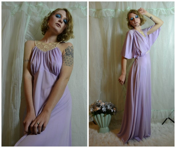 70s Slinky Pastel Purple Prom Dress With Cream Lace Detail And Etsy