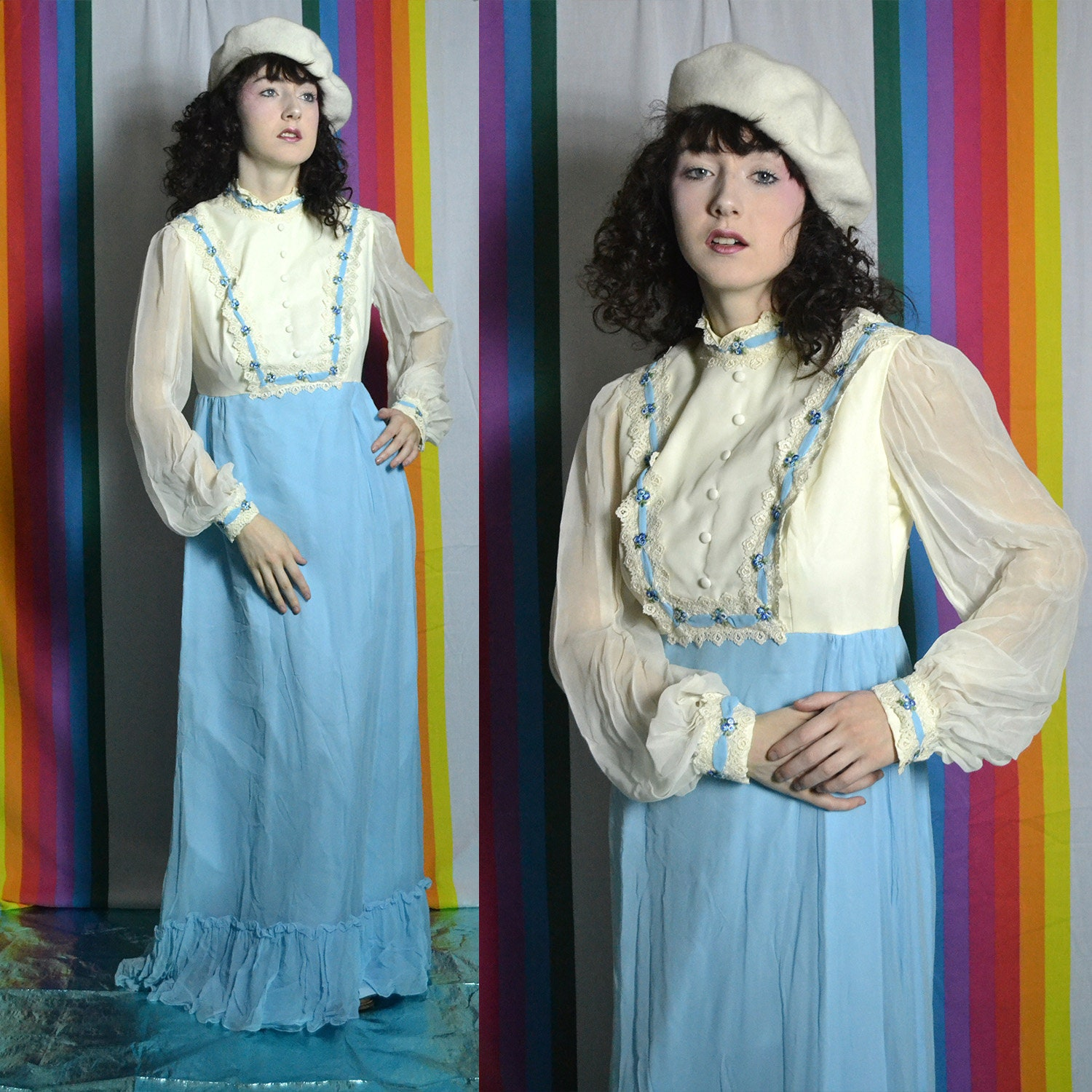 001a6113655a 60s prairie cream and powder blue maxi dress with floral swiss ribbon  embroidery and sheer balloon sleeves