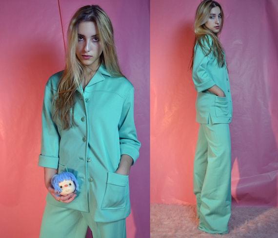 60s 70s mint sea green 2 pc pant suit
