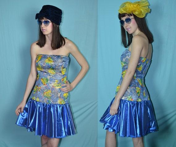 5450d13f67d1f0 80s vogel van paradijzen veelkleurige tropische blauwe Lamé