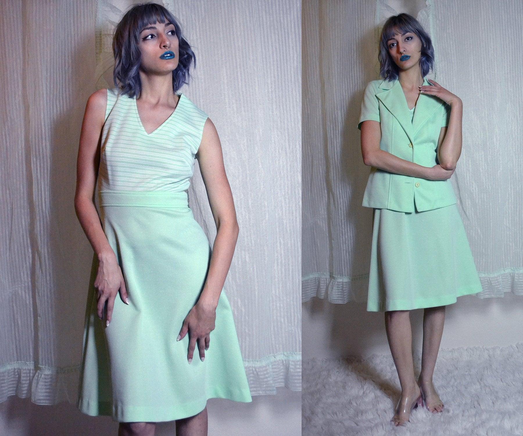 bc367857101 60s mod sleeveless striped mint green A line dress with matching short  sleeve bolero jacket