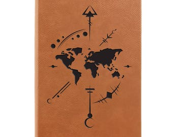 Leather Journal-Compass Rose W/World 31683