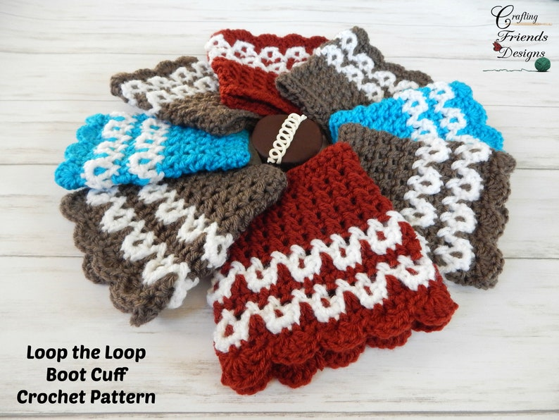 Crochet Pattern Loop The Loop Boot Cuff Crochet Pattern Pdf Etsy