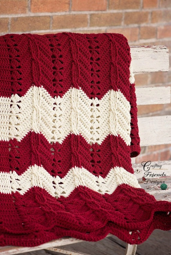 Crochet Pattern Classic Cable Chevron Afghan Textured Crochet Etsy