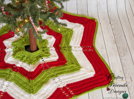 Crochet Pattern Classic Cable Star Christmas Tree Skirt Home Etsy
