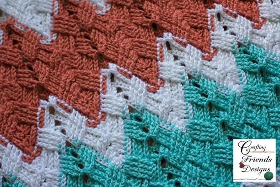 Crochet Pattern Basket Weave Chevron Afghan Photography Etsy