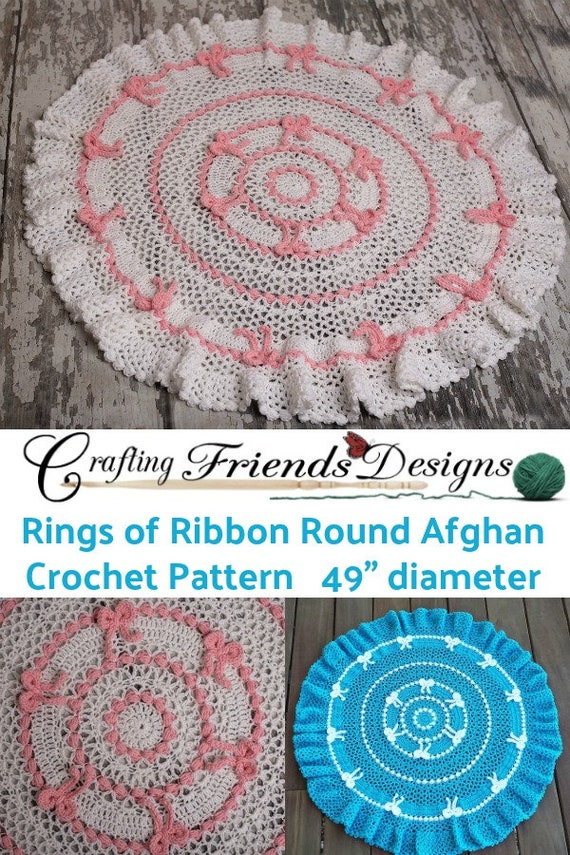 Crochet Pattern Rings Of Ribbon Spring Afghan Rug Infant Or Etsy