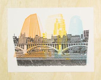 Minneapolis Screen Print Poster - MPLS Skyline