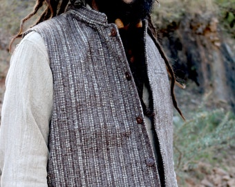 Handwoven Wool Vest with Collar ~