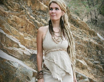 Earth Frayed Top ~ Natural Cotton