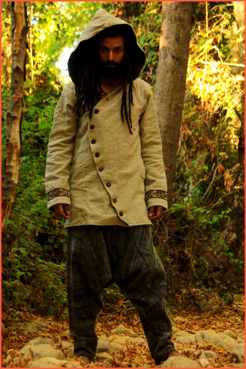 Men jacket with hoodie  tribal embroidery pattern  made of image 0