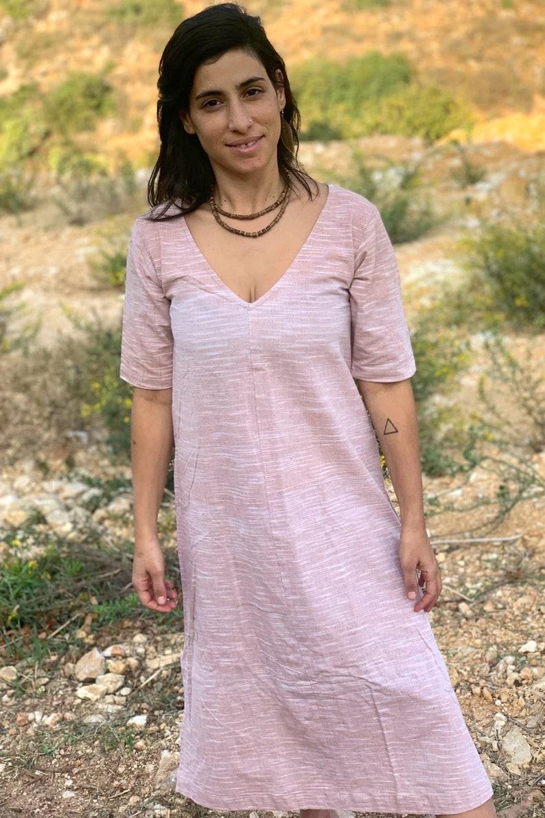 Short Sleeves V Neck Jalabiya Dress \u2022 Vintage Pink \u2022 Handwoven Khadi Cotton