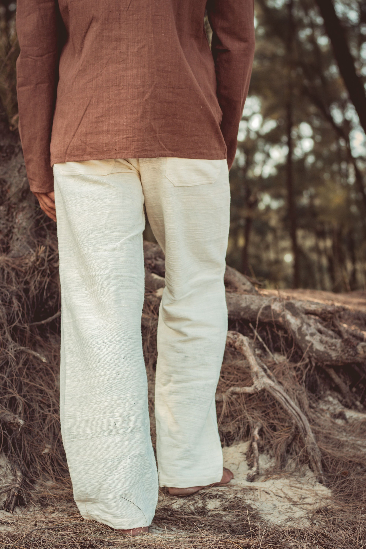 Pantalon Pantalon Pantalon droit ~ coton khadi naturel. Pantalon ample et  homme. Pantalon naturel 9fdac2c4224