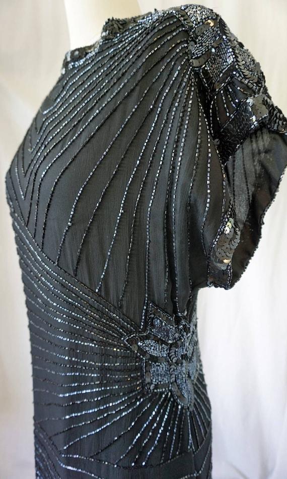 1980's Evening Dress / Black Beaded Laurence Kazar