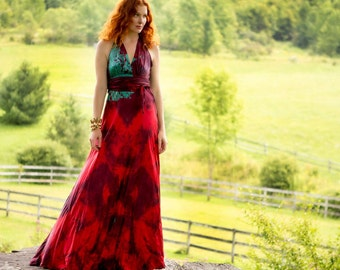 Red silk halter boho chic wedding gown with the blue flash