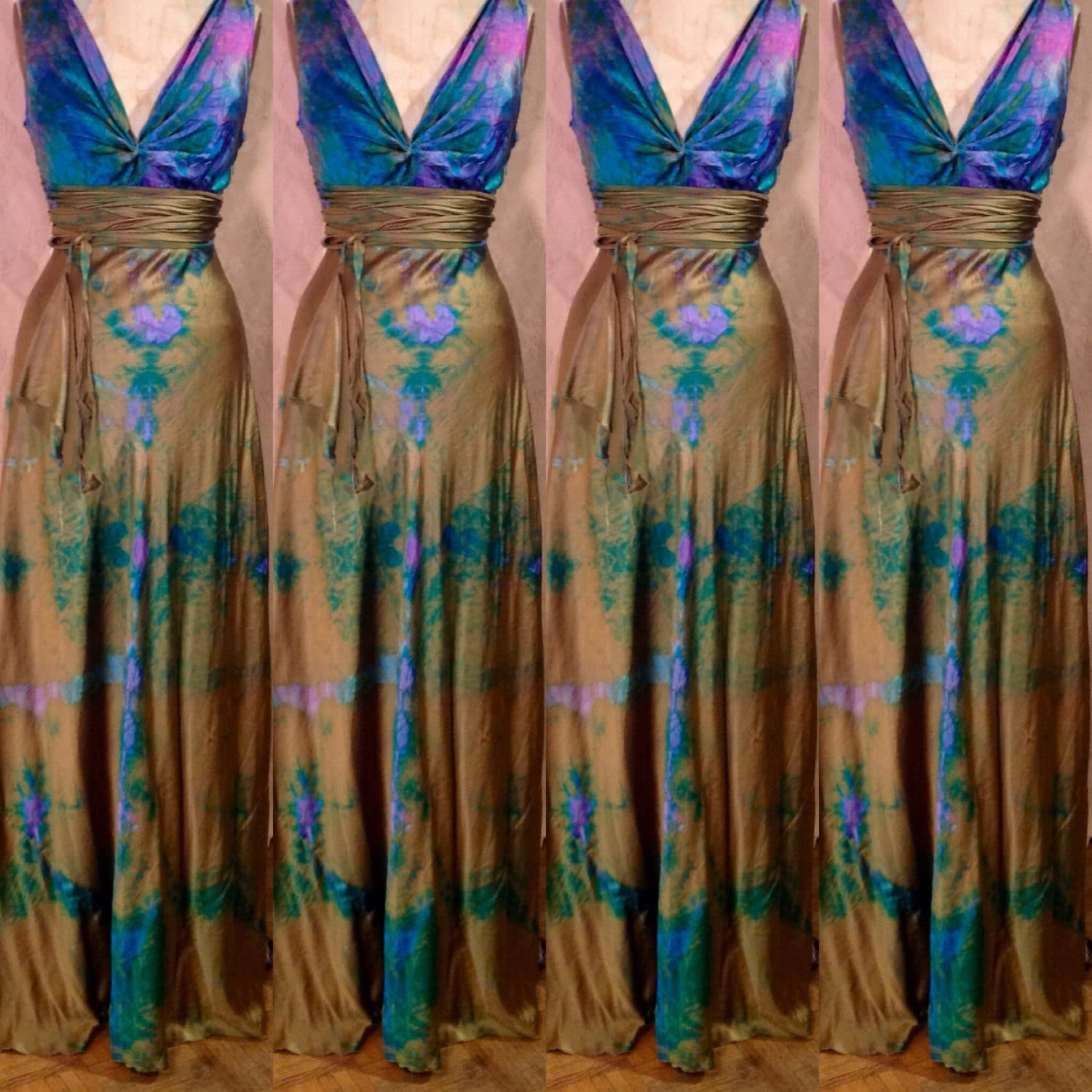 Gold Bronze Pink Blue Turquoise Green Teal Wedding Dress Henry Etsy