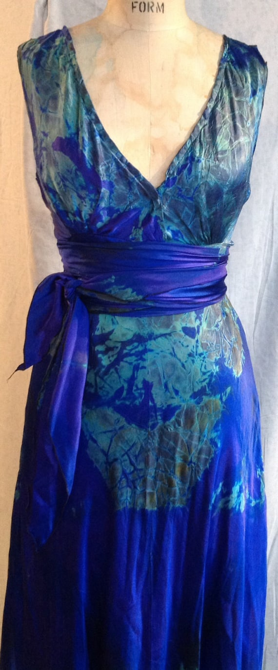 Custom Order Only Royal Blue And Acid Green Tie Dye Silk V Neck Wedding Dress By Momosoho Just For Your Wedding