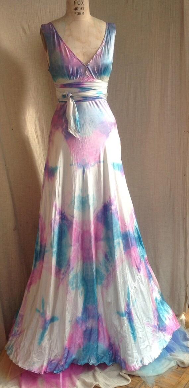Vneck wedding dress boho bridal island wedding dress tie dye | Etsy