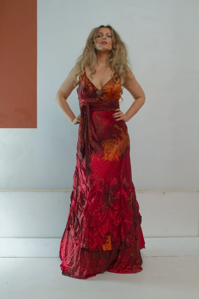 e1c5887f3adeb Red silk plus size wedding gown with pleats boho chic bridal gown mother of  the ... Red silk plus size wedding gown with pleats boho chic bridal gown  mother ...