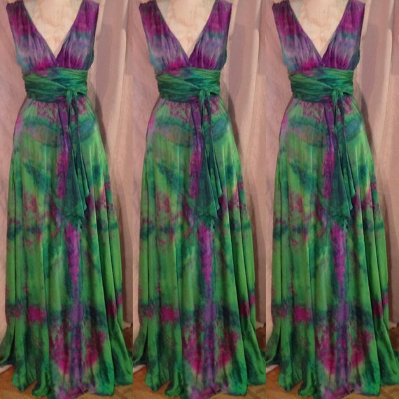 mother of the bride Boho plus size purple dress with scarf art to wear dress DE L-XL hand dyed cotton summer party dress US size 14-18
