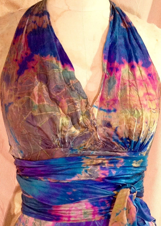 blue pink gold silk halter dress boho chic tie dye dress beach wedding gown mother of the bride beach wedding dress tie dye halter maxi gown