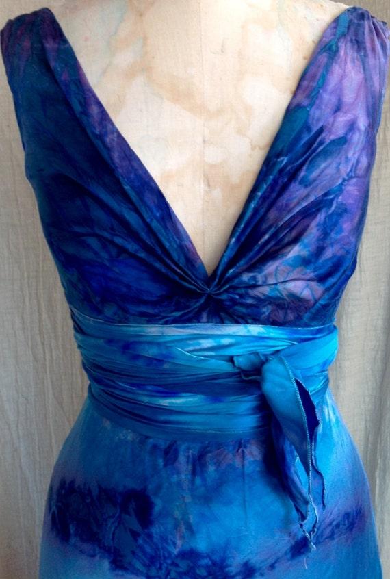 Deep Ocean Blue Silk Boho Bridal Tie Dye Wedding Gowns Island Etsy