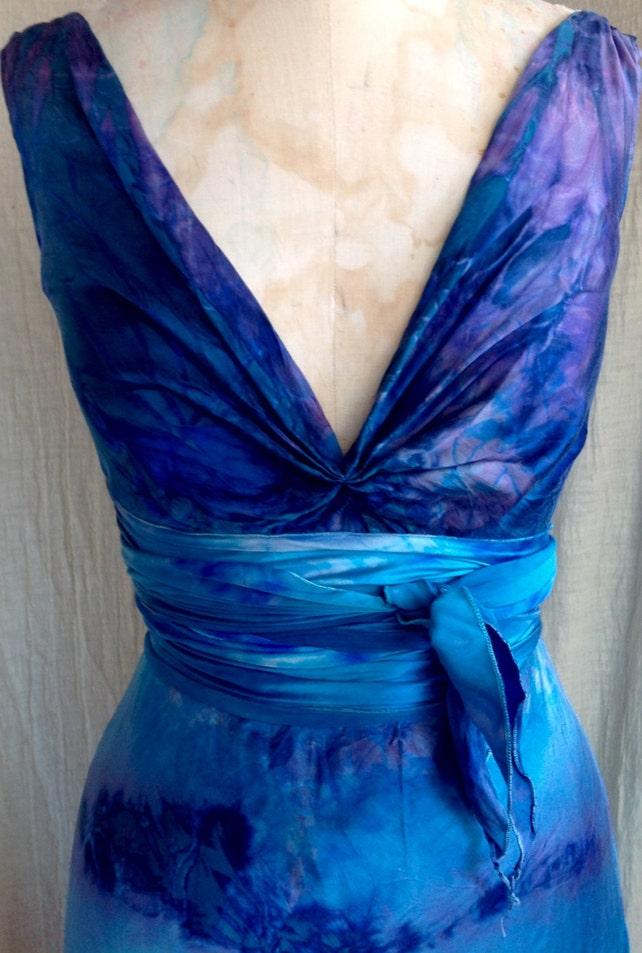 Deep ocean blue silk boho bridal tie dye wedding gowns island | Etsy
