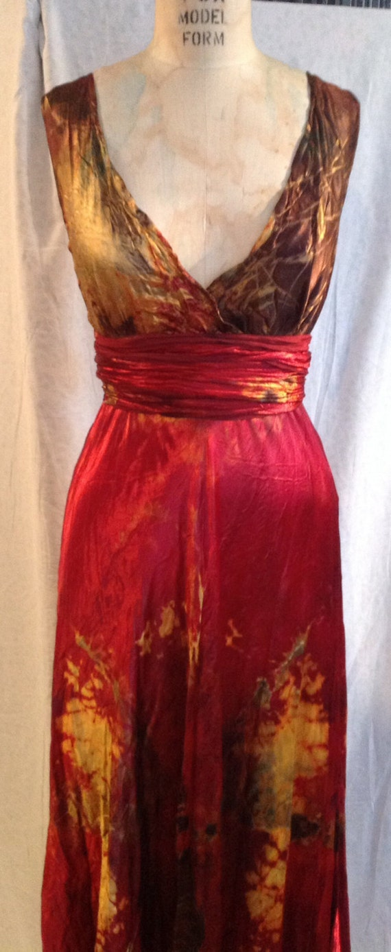 Red gold black green satin plus size wedding dress with sash custom made  and hand dyed