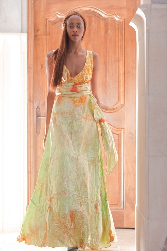 orange pale mint green yellow v neck long wedding dress boho chic bridal  gown mother of the bride plus size boho bridal