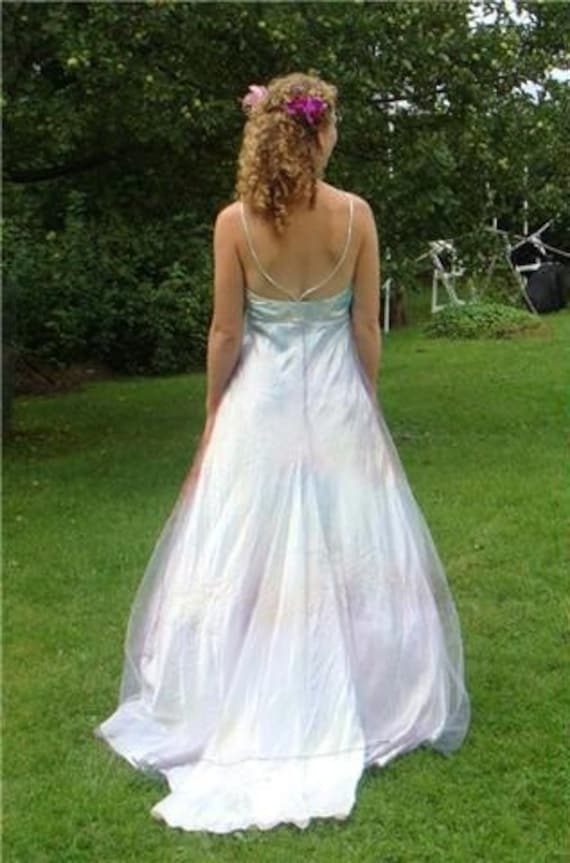Small Opalescent halter wedding dress dress with tuille   Etsy