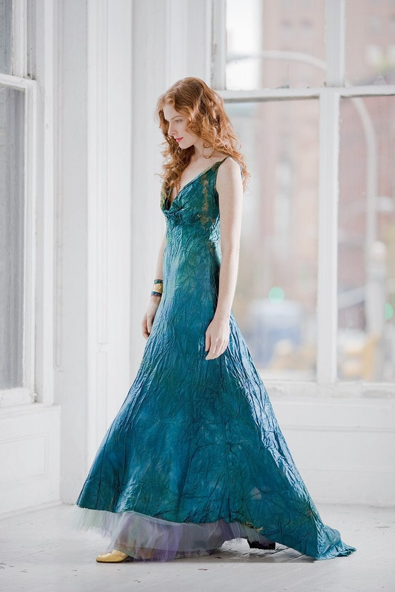 Teal Blue wedding dress and crinoline