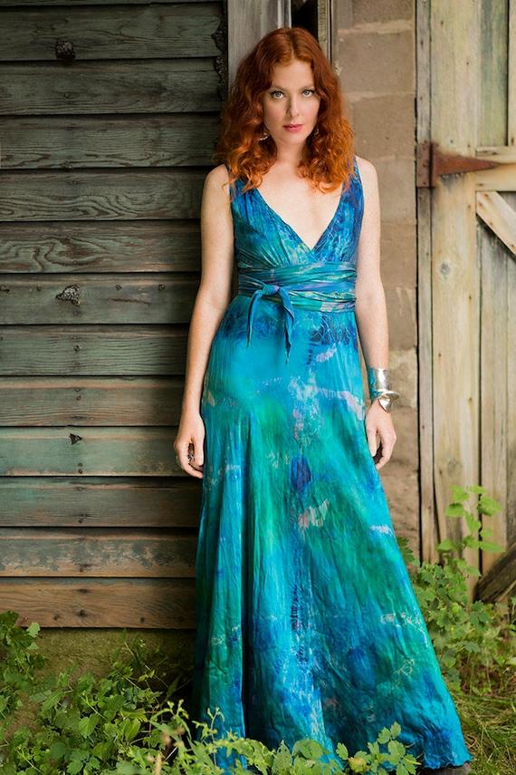 Planet Blue Silk Boho Mother Of The Bride Beach Wedding Dress Etsy